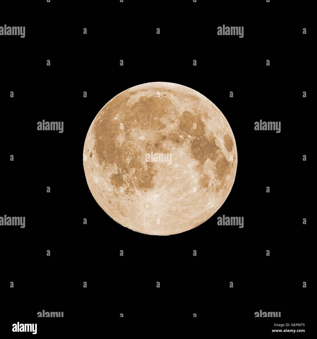 Full moon, orange color - Stock Image