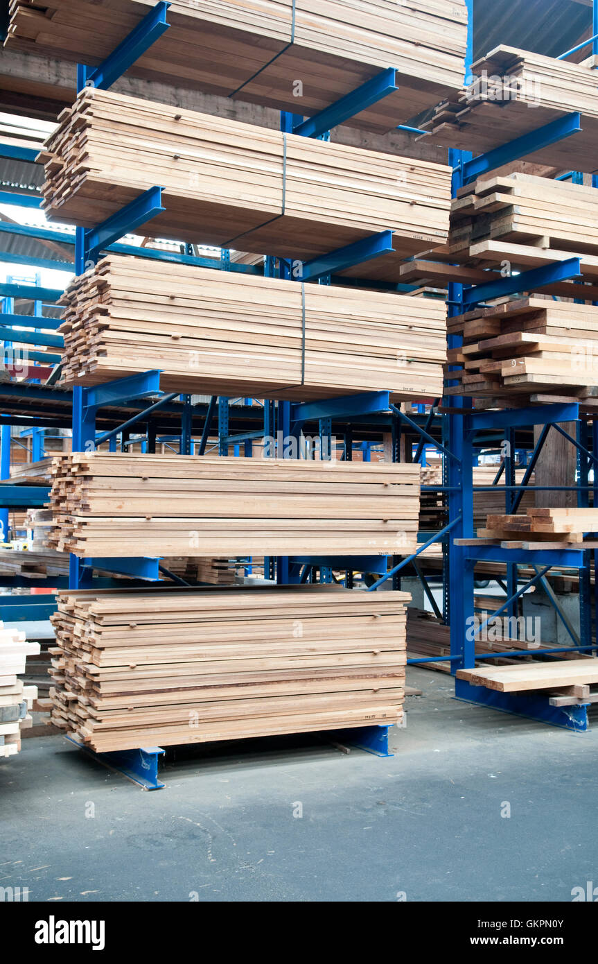 Stacked timber and planks - Stock Image