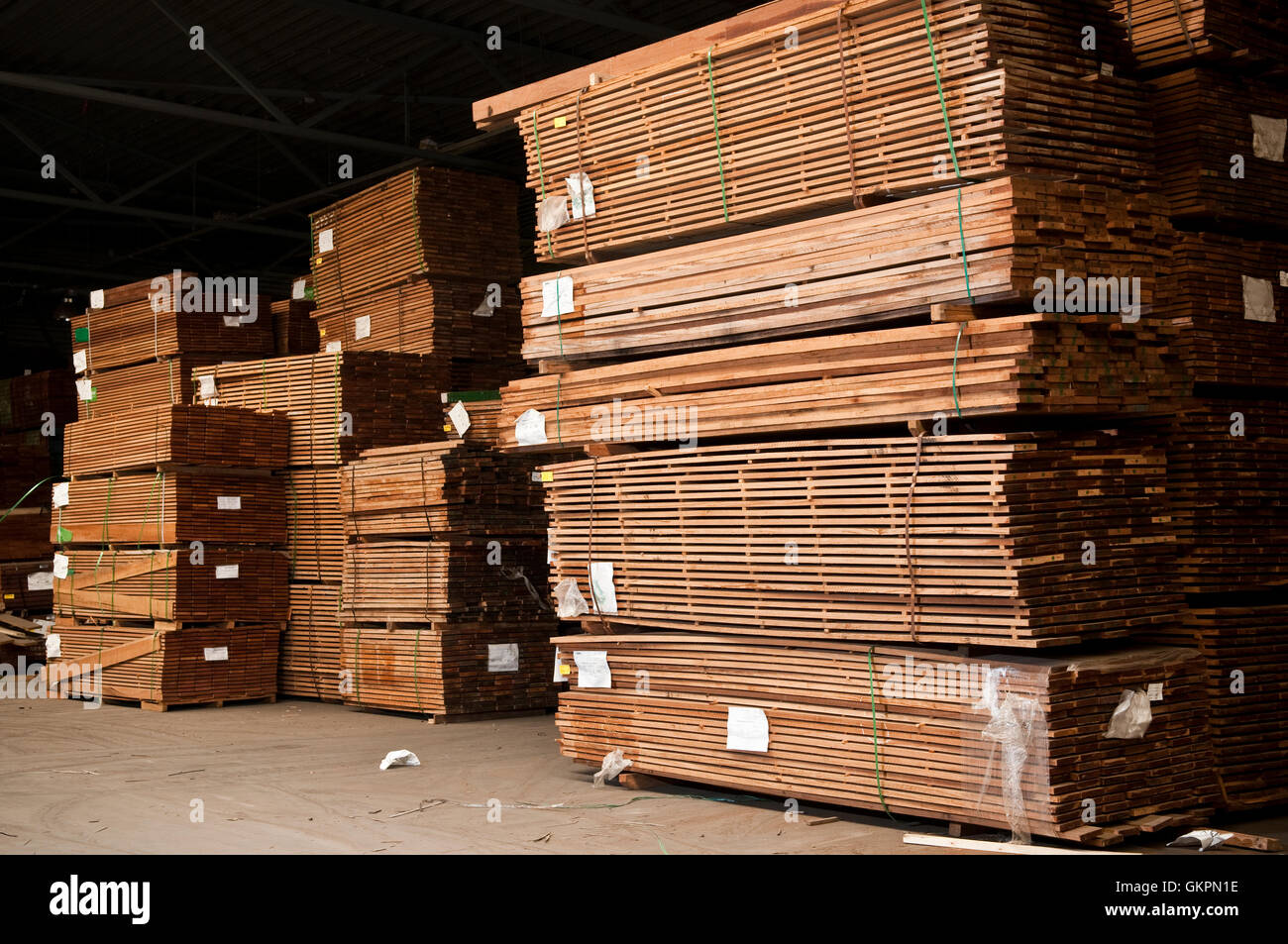 Large stacks of a hardwood planks Stock Photo
