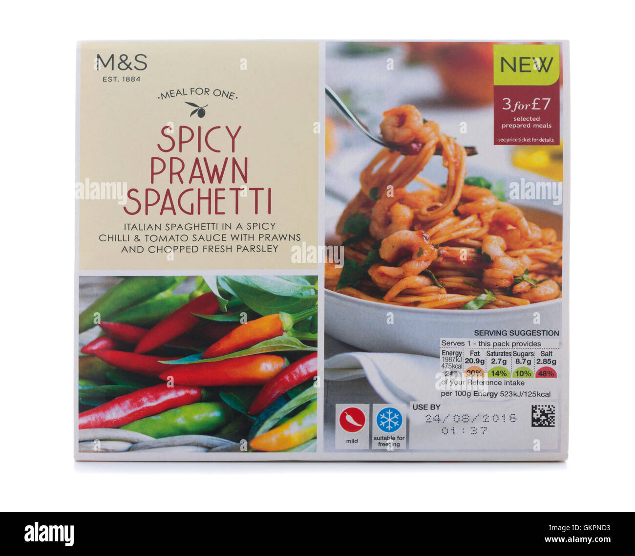 Packet of Spicy Prawn Spaghetti Meal For One on a White Background - Stock Image