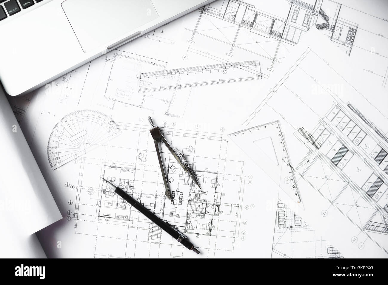 architect, architecture, blueprint, business, businessman, candid, casual, coffee,construction,engineer - Stock Image