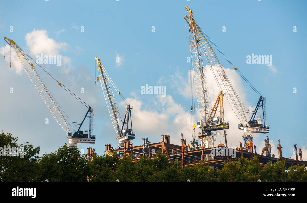 Cranes being used in the construction of the 30 Hudson Yards project on the west side of New York on Friday, August - Stock Image