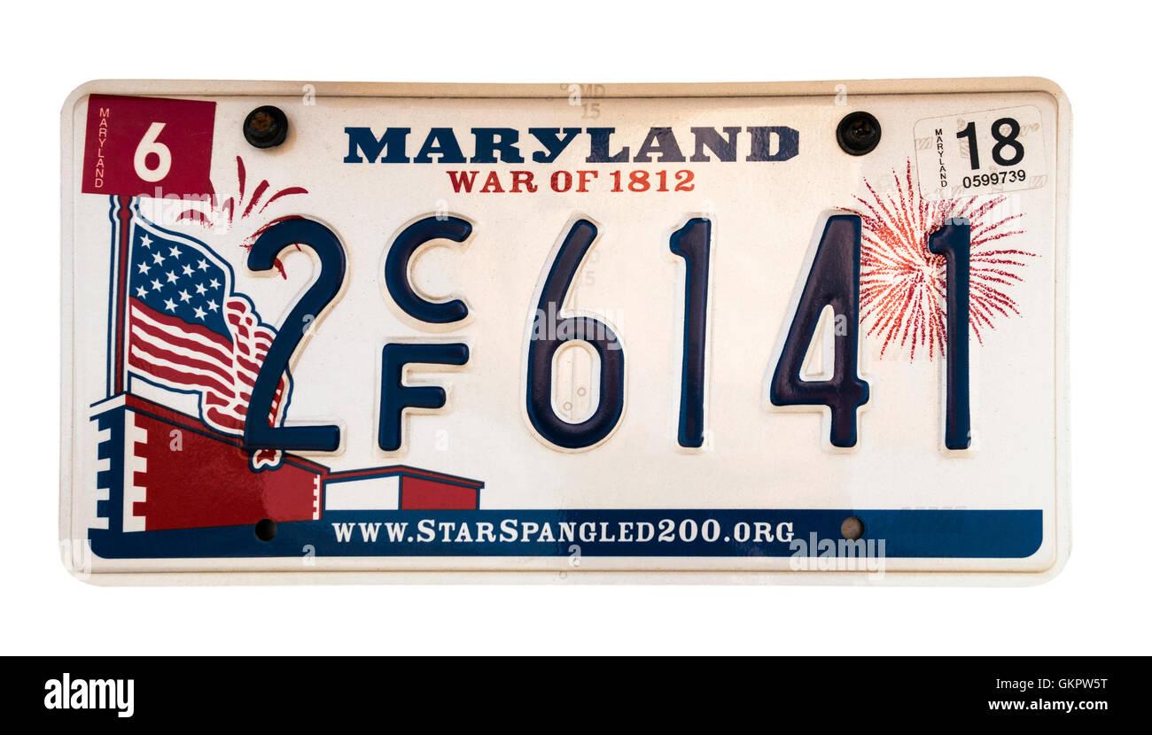 Maryland license plate; vehicle registration number. Maryland 'War of 1812' number plate. - Stock Image