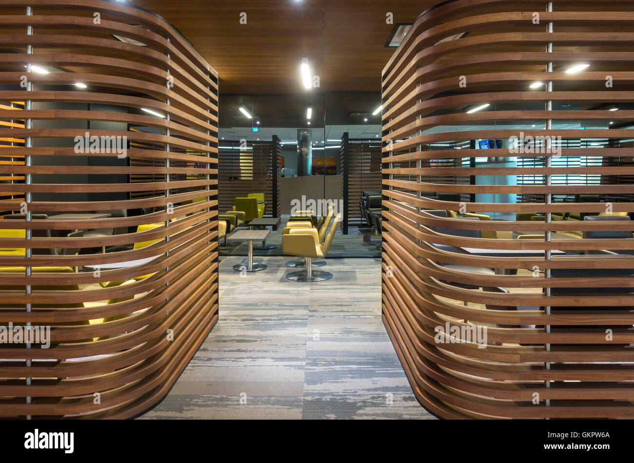 A semi private area of the Air France - KLM Lounge inside Toronto's Pearson Airport. Mississauga, Ontario, Canada. - Stock Image