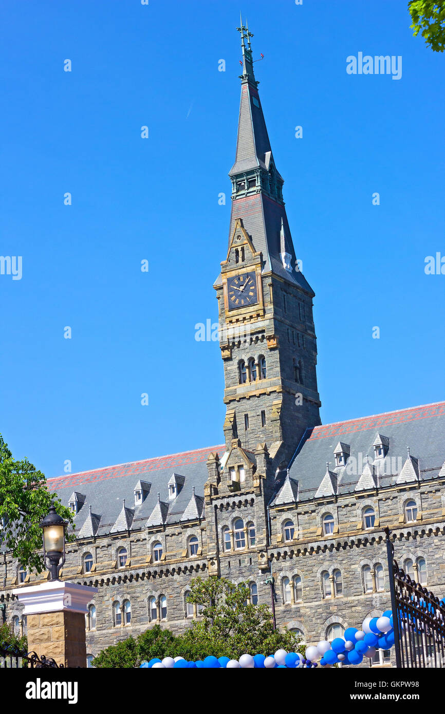 Clock Tower of Healy Hall Building at Georgetown University in the morning. - Stock Image