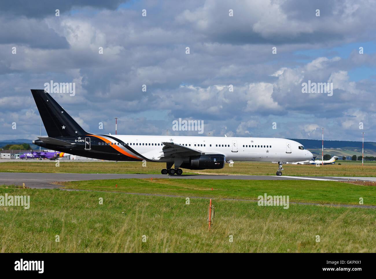 Boeing 757-200 Titan Airways Registration Serial  G-ZAPX.      SCO 11,176 - Stock Image