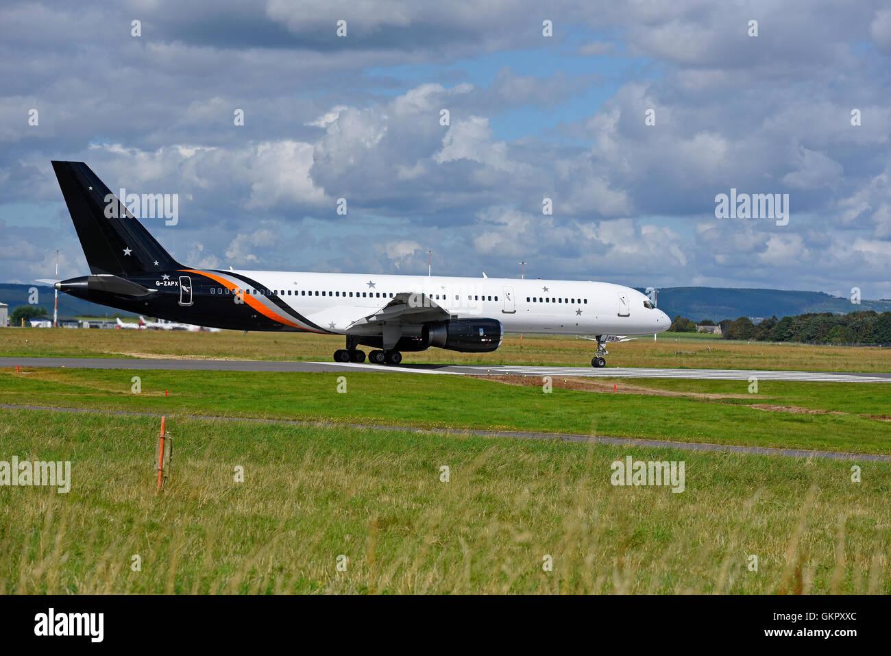 Boeing 757-200 Titan Airways Registration Serial  G-ZAPX.      SCO 11,177 - Stock Image