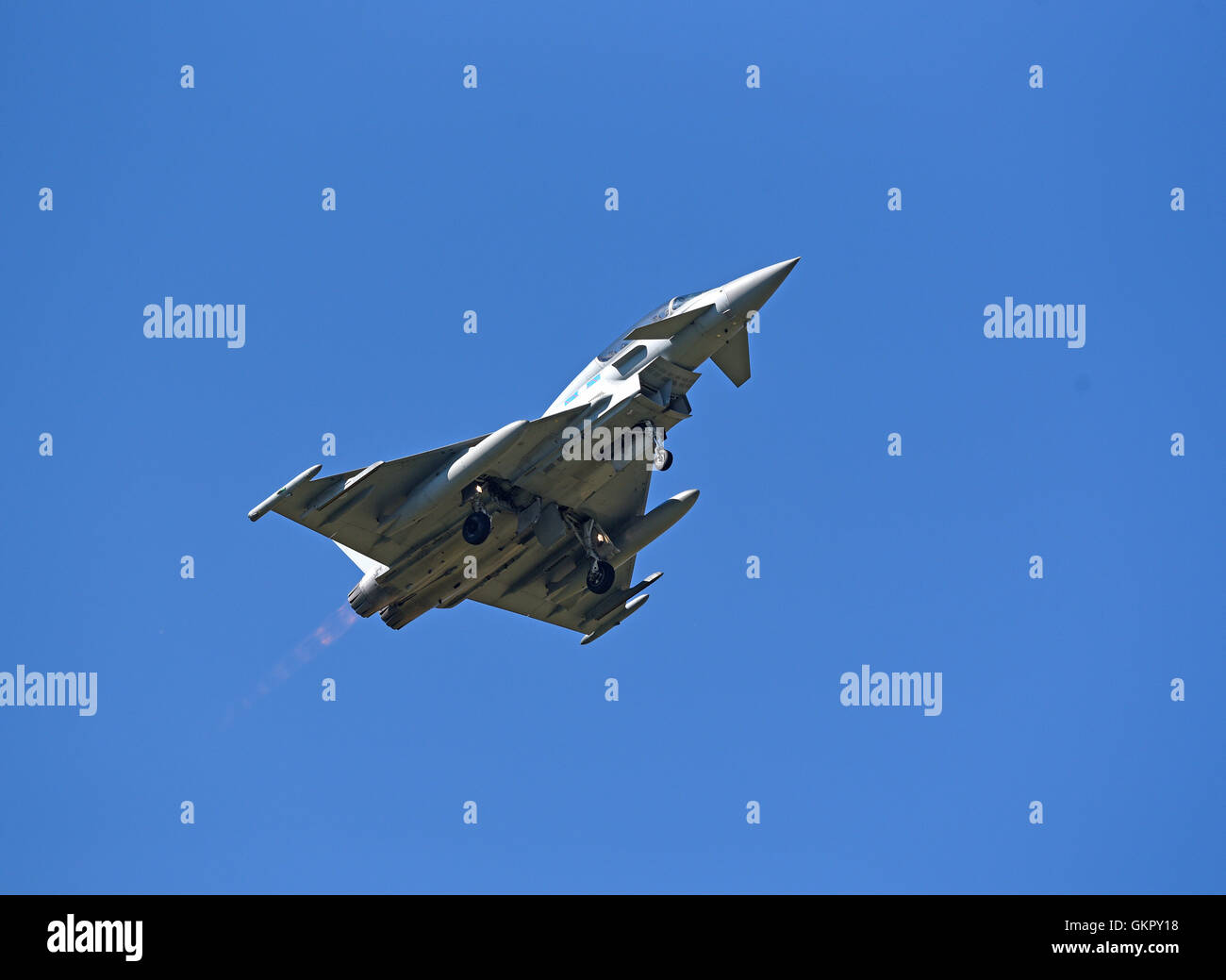 Eurofighter Typhoon FGR4Tail Fin 'FZ' on full reheat at take off. SCO 11,256. - Stock Image
