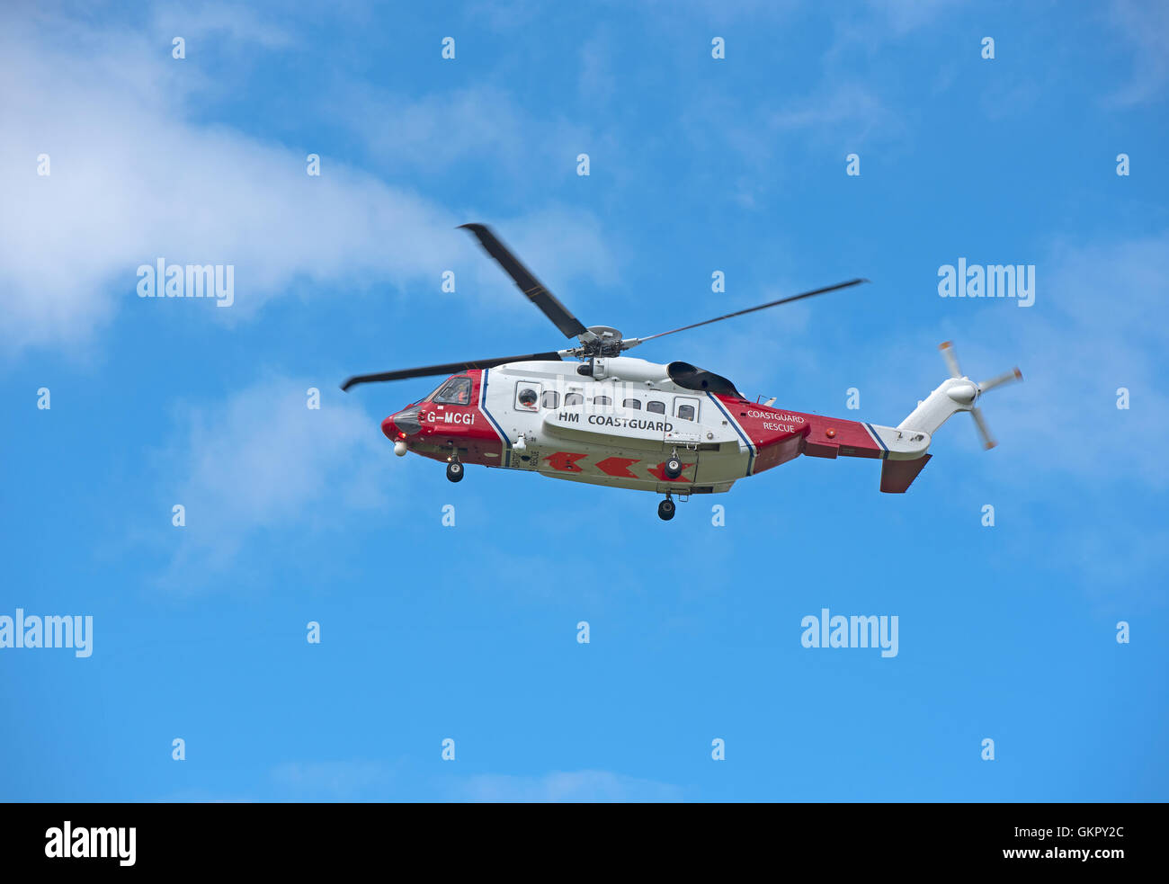 Inverness based Bristow's Sikorsky S92A Search and Rescue Coastguard Helicopter departing from Inverness home - Stock Image