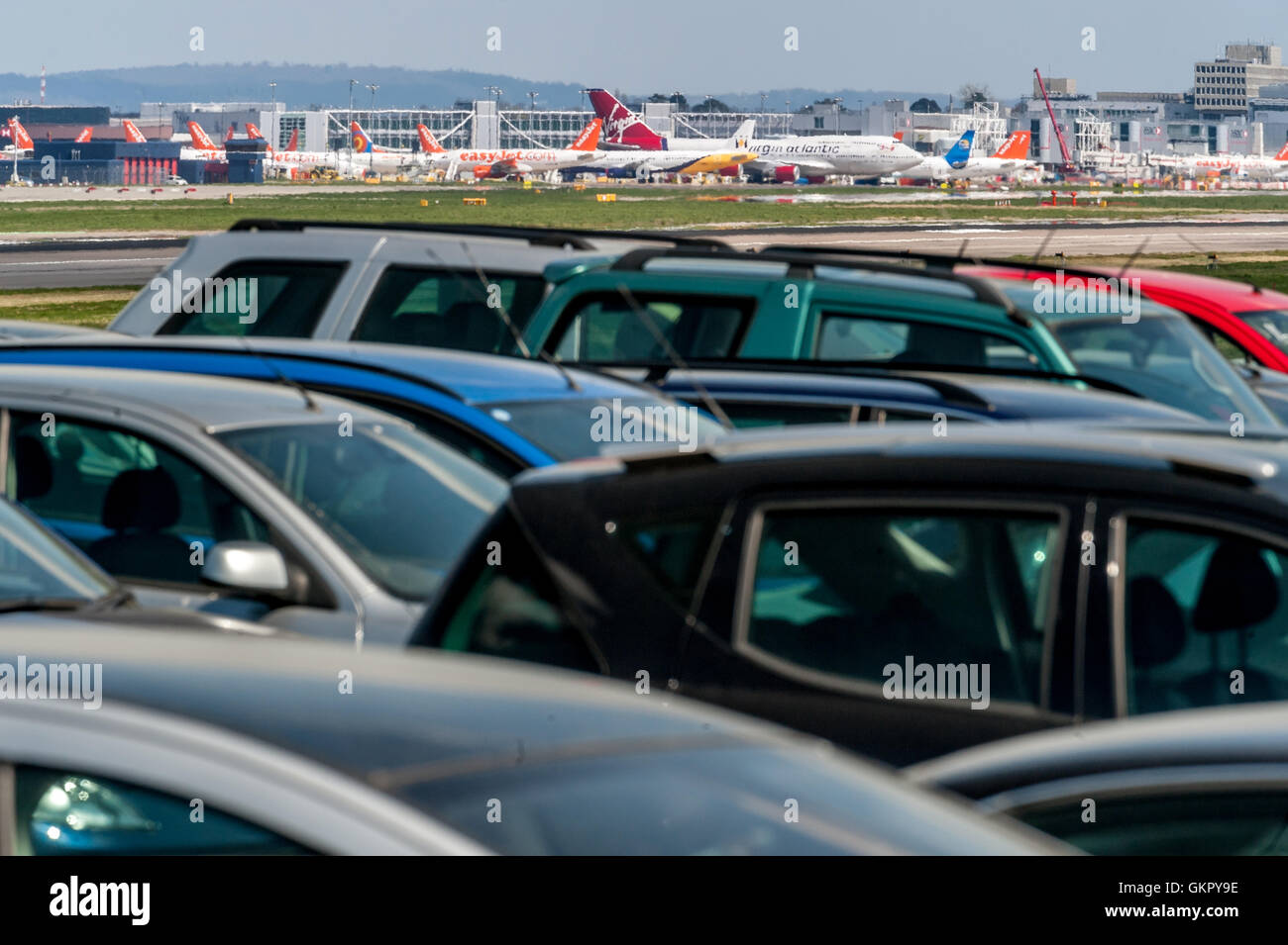Airport Parking Near Gatwick Airport In Sussex Stock Photo