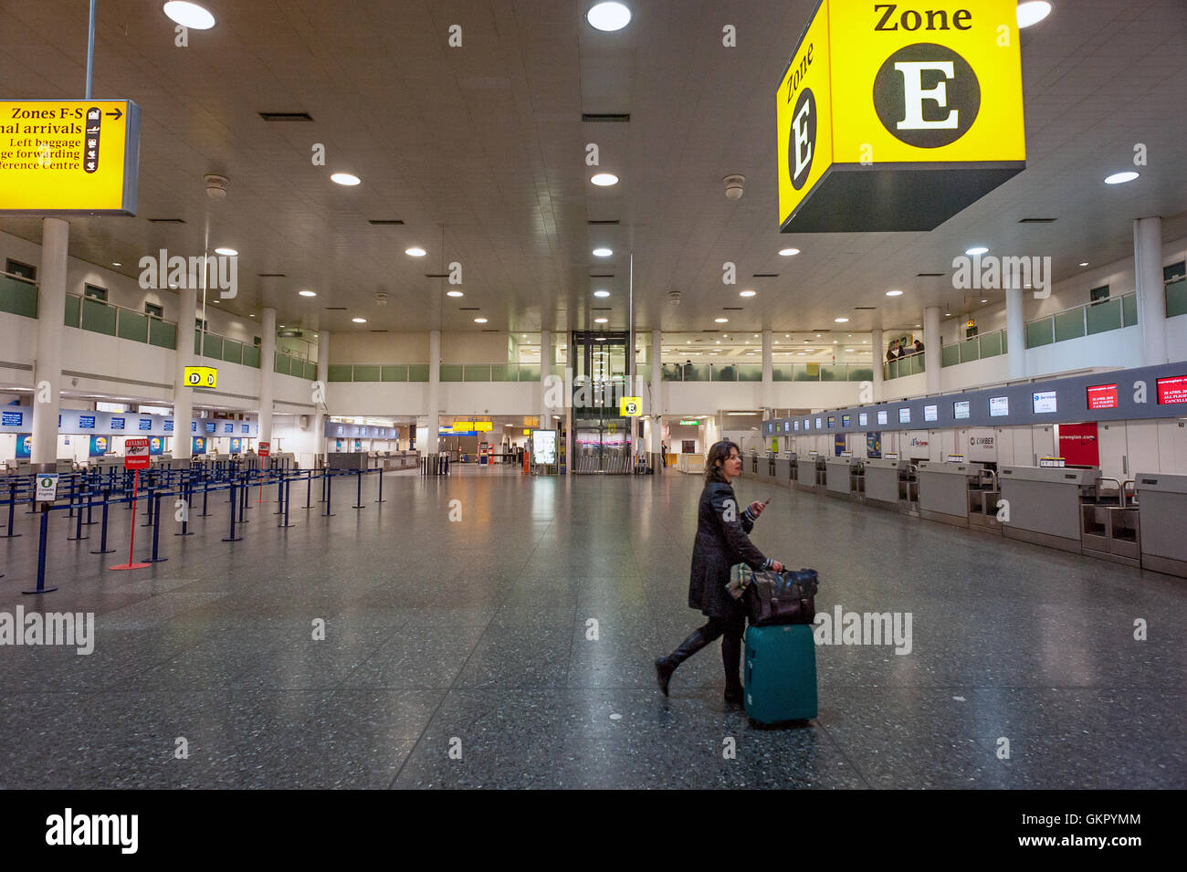 A relatively empty check-in area at South Terminal, Gatwick
