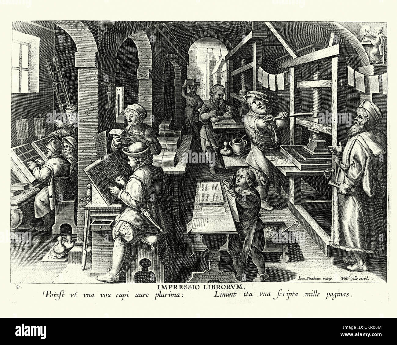 Woodcut of a early English printing office. Printers using a Printing Press and Typesetters at work. - Stock Image