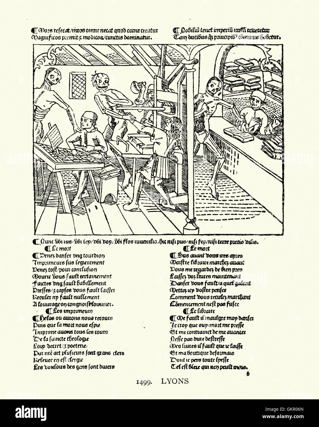 Woodcut of a Printing office from the Dance of Death, 1499 - Stock Image