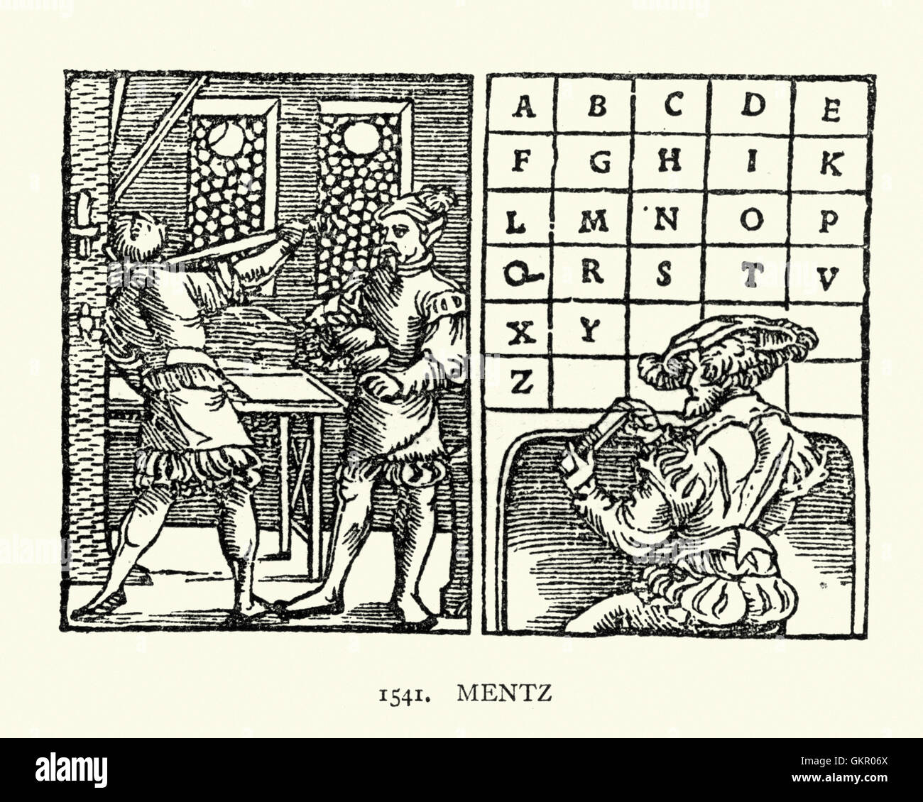 Woodcut of men using a printing press, and a typesetter. 1541, Mentz - Stock Image