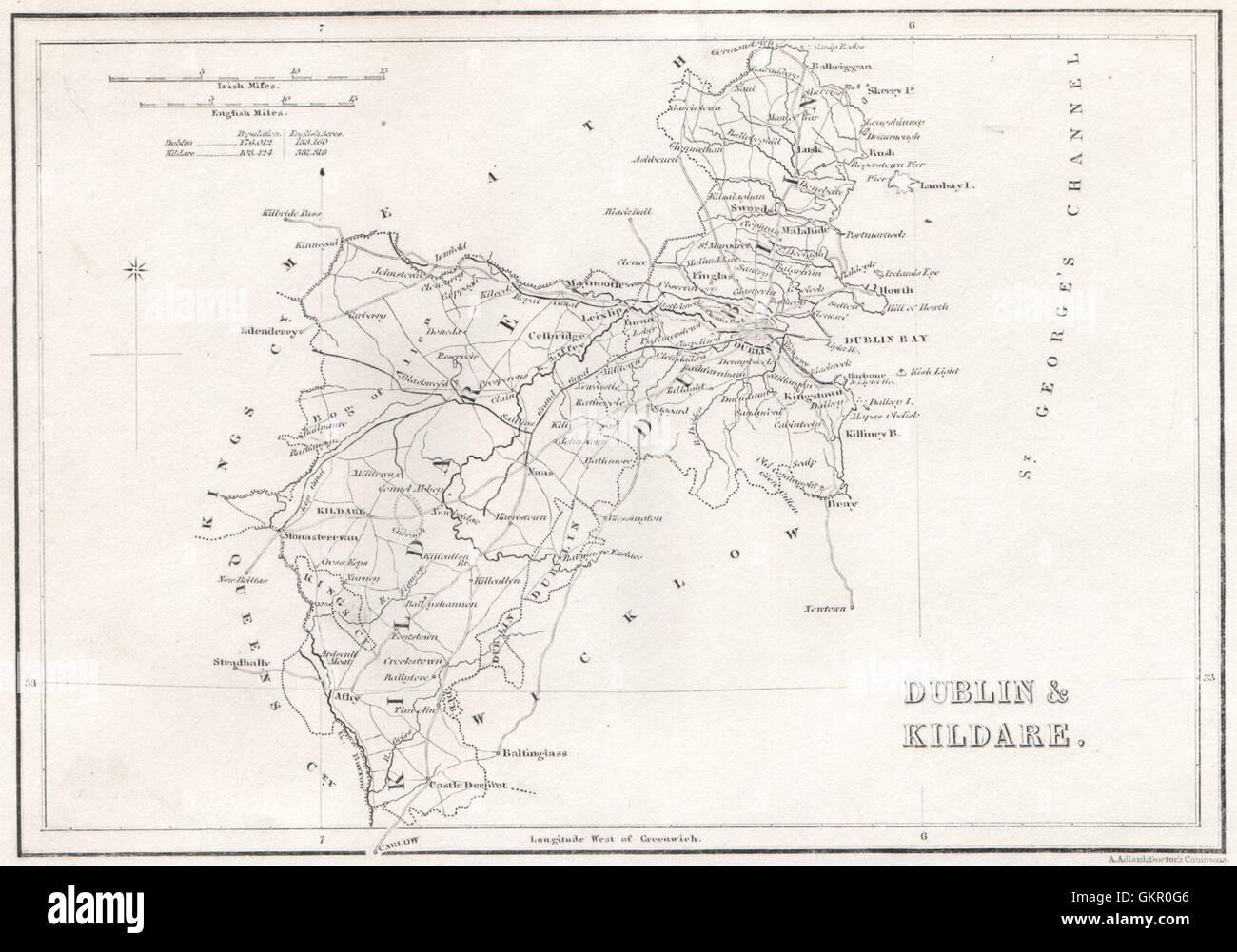 County Dublin County Kildare Ireland 1835 Antique Map Stock