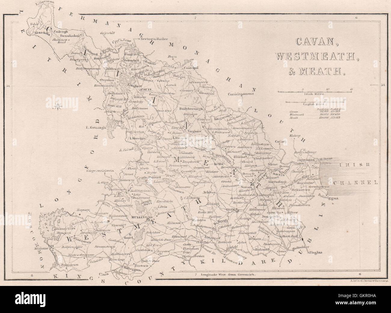 County Cavan County Westmeath County Meath Ireland 1835 Antique