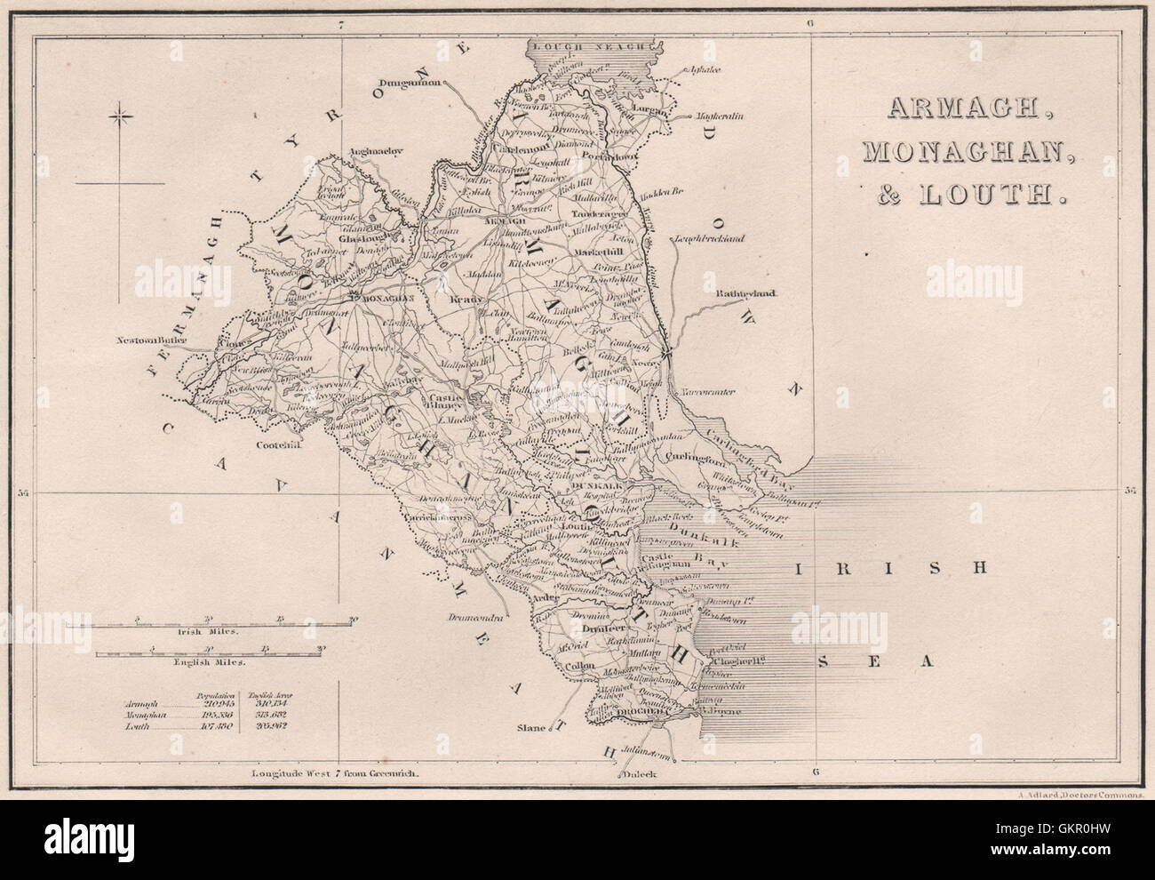 County Armagh Ireland Map.County Armagh County Monaghan County Louth Ireland 1835 Antique