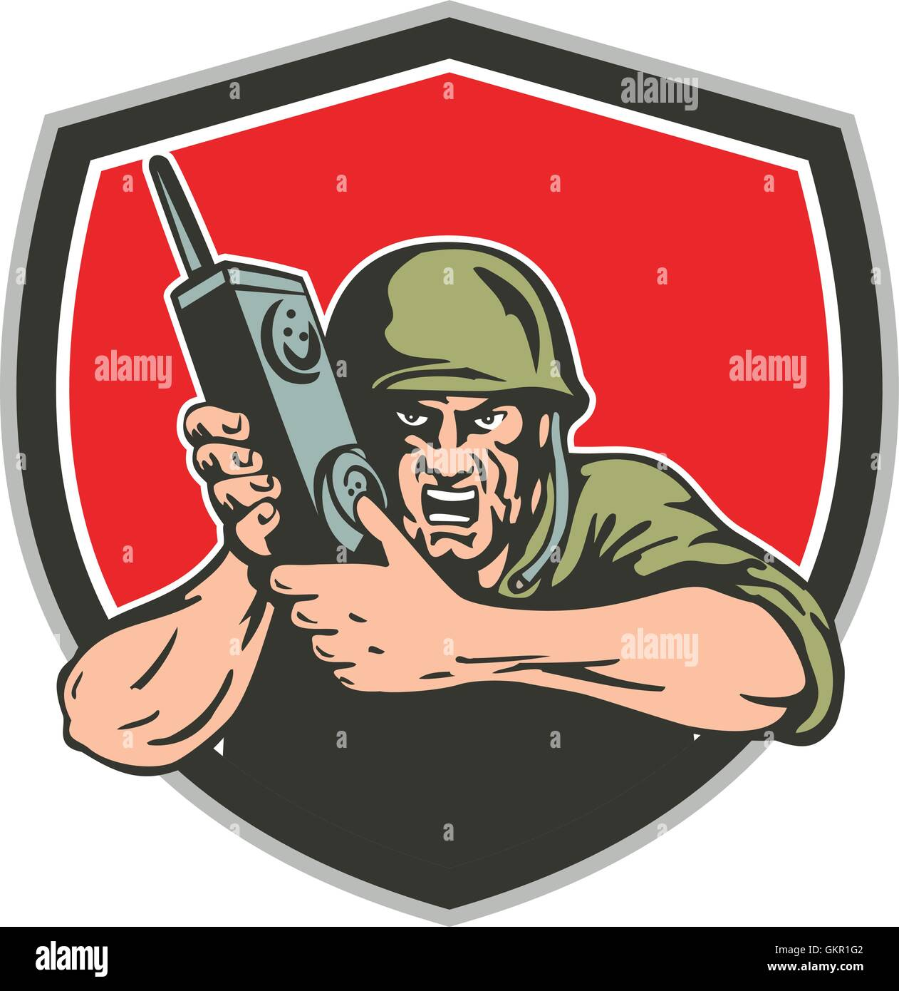 World War Two American Soldier Field Radio Shield - Stock Vector