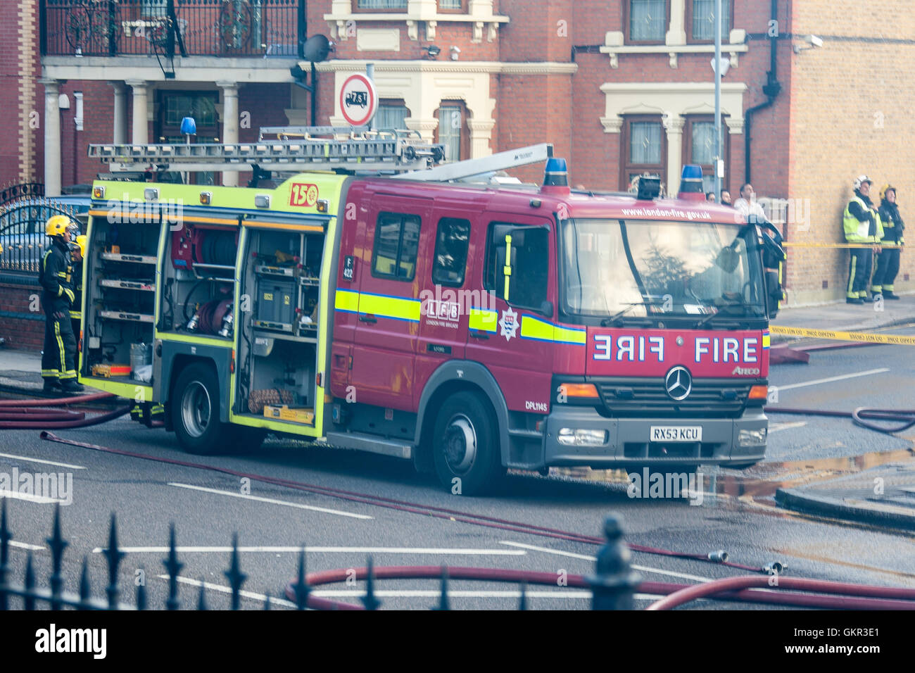 Amazing LFB Mercedes Fire Engine At The Scene Of A Fire.   Stock Image