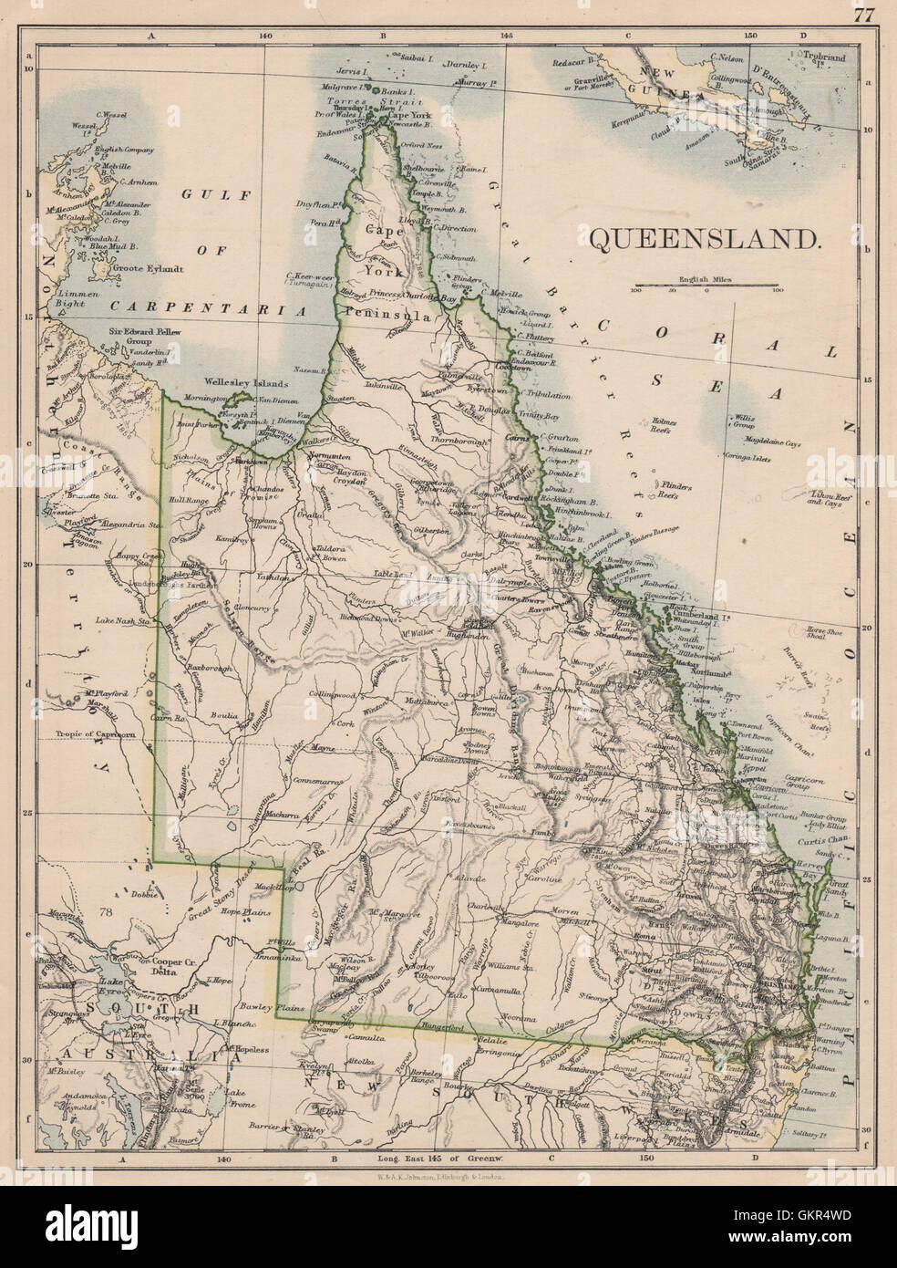 QUEENSLAND State map Brisbane Gold Coast Railways JOHNSTON 1895 Australia