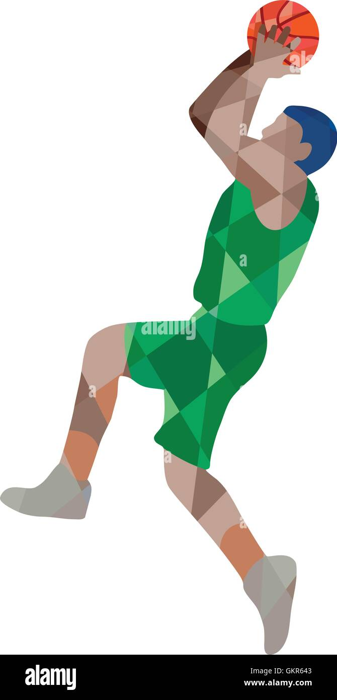 Basketball Player Jump Shot Ball Low Polygon - Stock Image