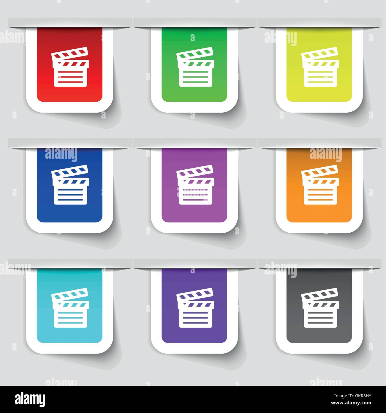 Cinema Clapper icon sign. Set of multicolored modern labels for your design. Vector Stock Vector