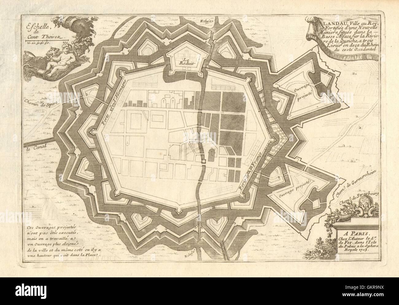 Landau Fortifed Town City Plan Rhineland Palatinate De Fer