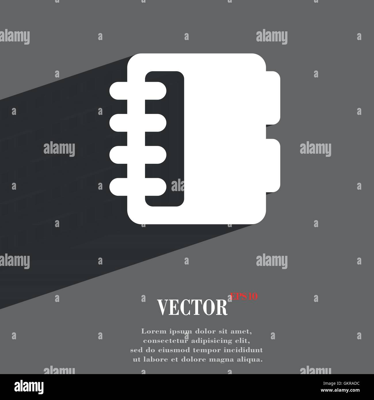 Notepad, calendar icon symbol Flat modern web design with long shadow and space for your text. Vector - Stock Vector