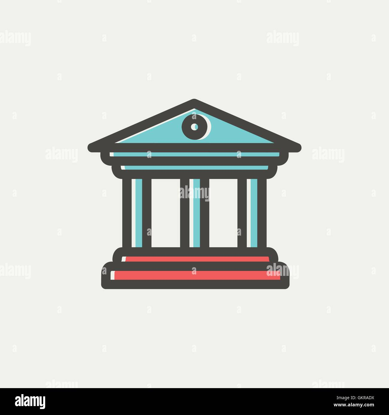 Museum building thin line icon - Stock Vector