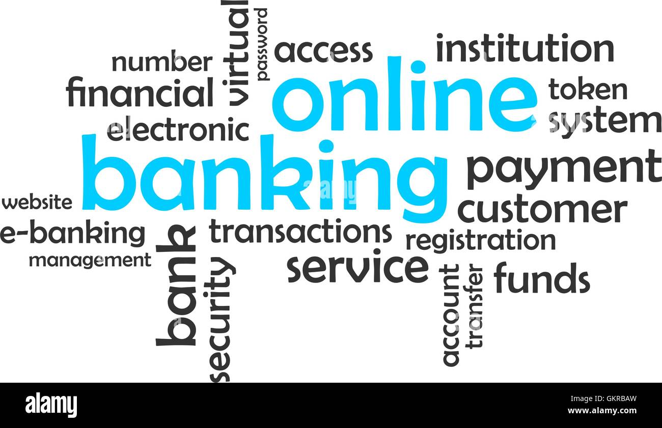 word cloud - online banking - Stock Image