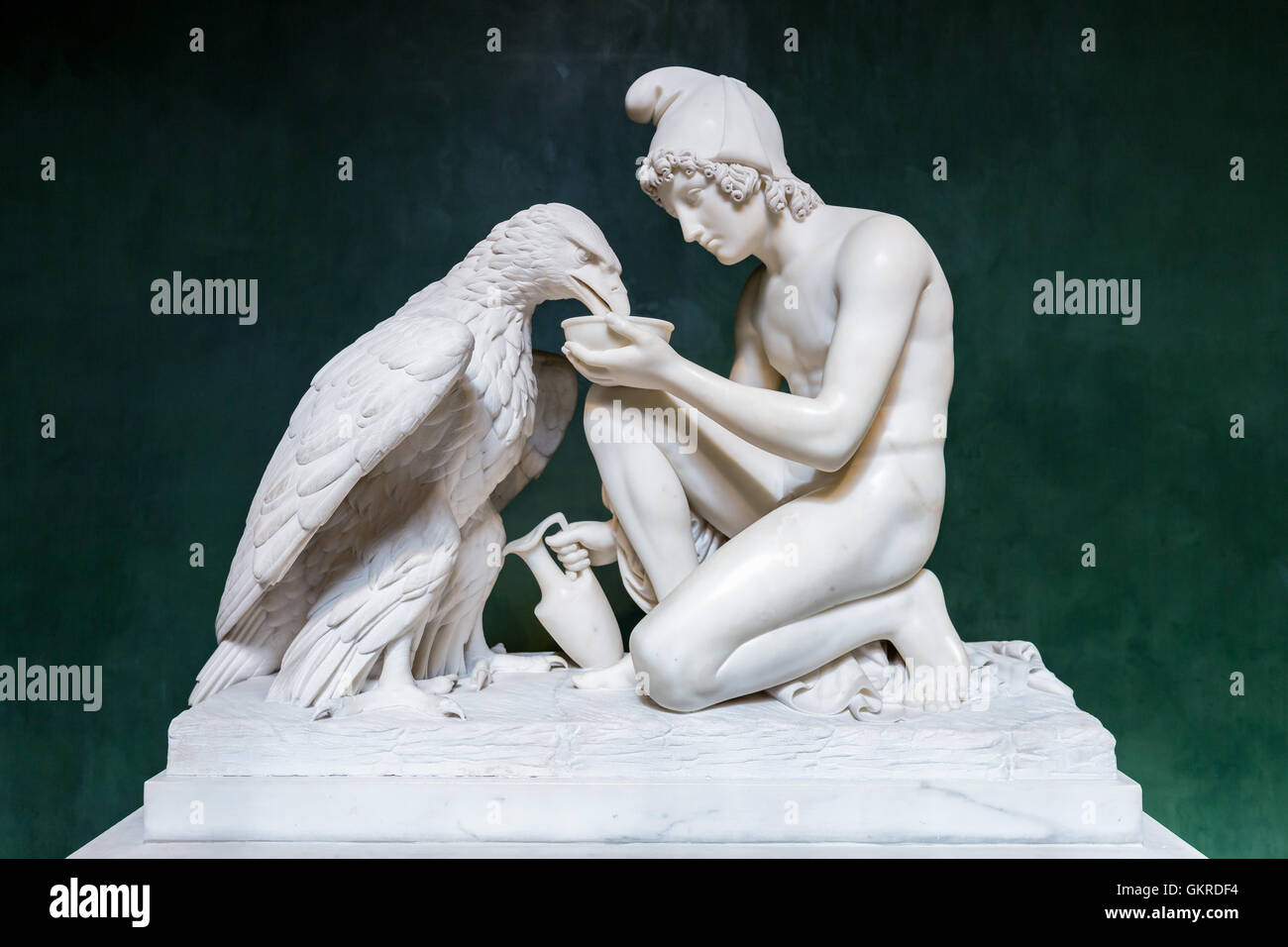 Sculpture of Ganymede with Jupiters Eagle at Thorvaldsens Museum in Copenhagen, Denmark - Stock Image