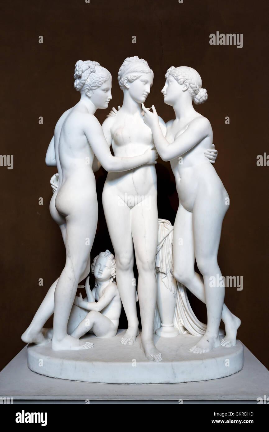 Sculpture of Charites  and Amor at Thorvaldsens Museum, Copenhagen, Denmark - Stock Image