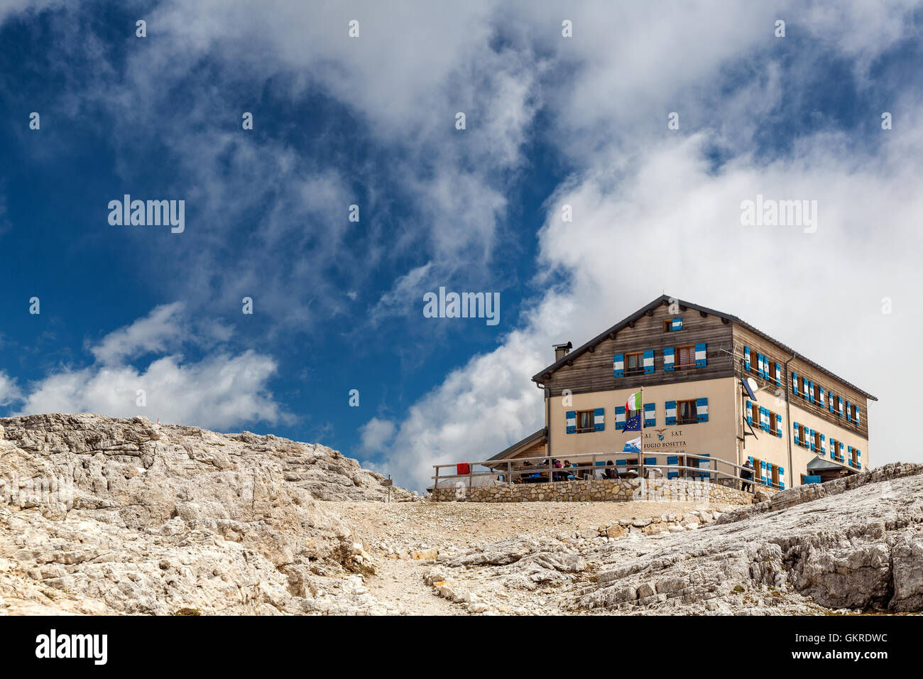 Rosetta refuge, Paneveggio Pale di San Martino Park, Trento province, Trentino, Italy - Stock Image