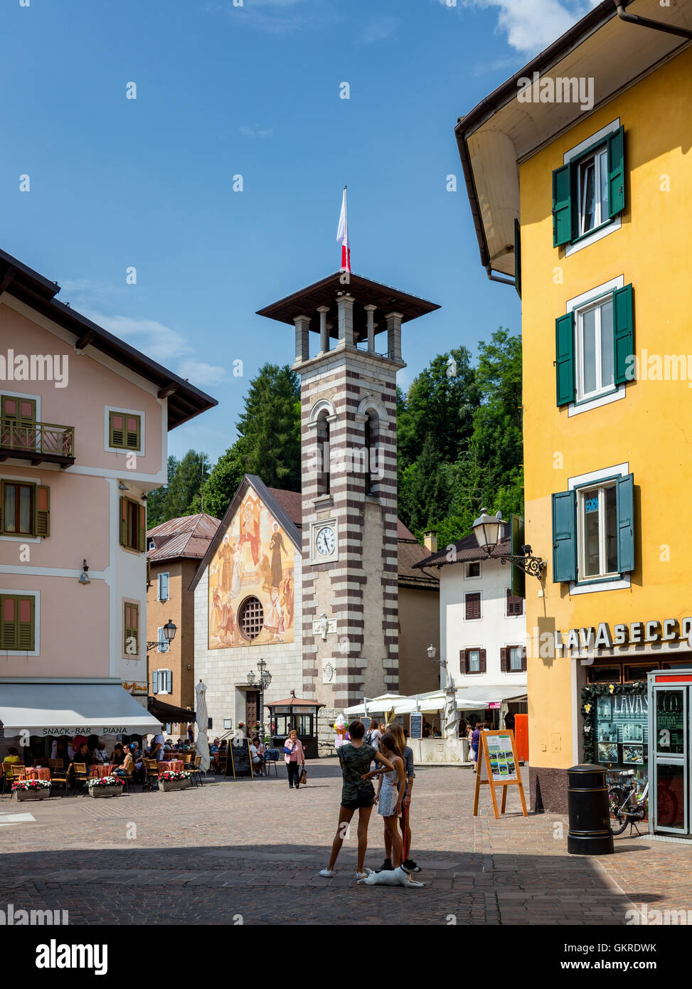The main square in Tonadico, Trentino,  Trentino-Alto Adige/Südtirol, Italy - Stock Image