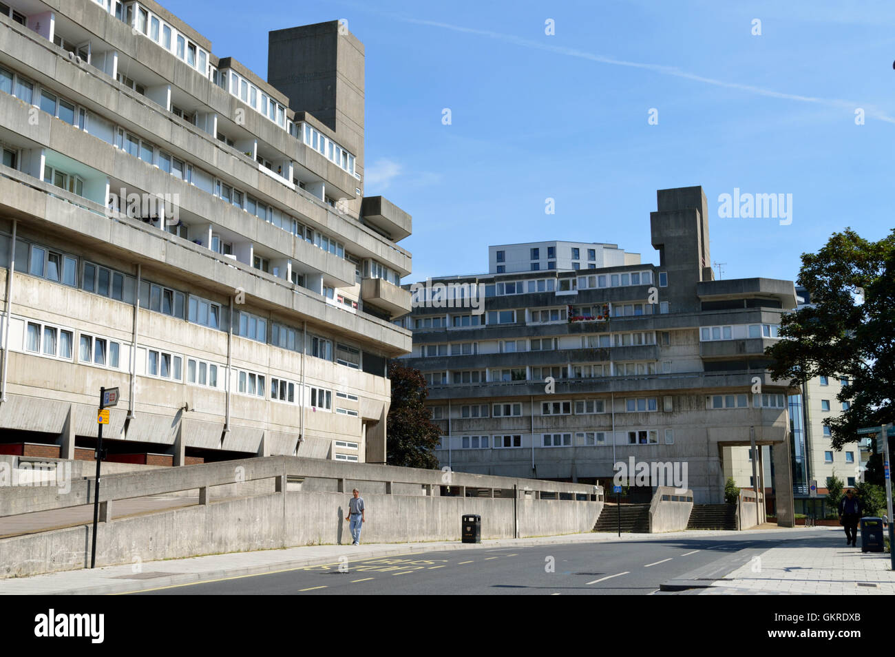 1960s architecture residential flats in Wyndham Court in Southampton City Centre taken in 2016. - Stock Image