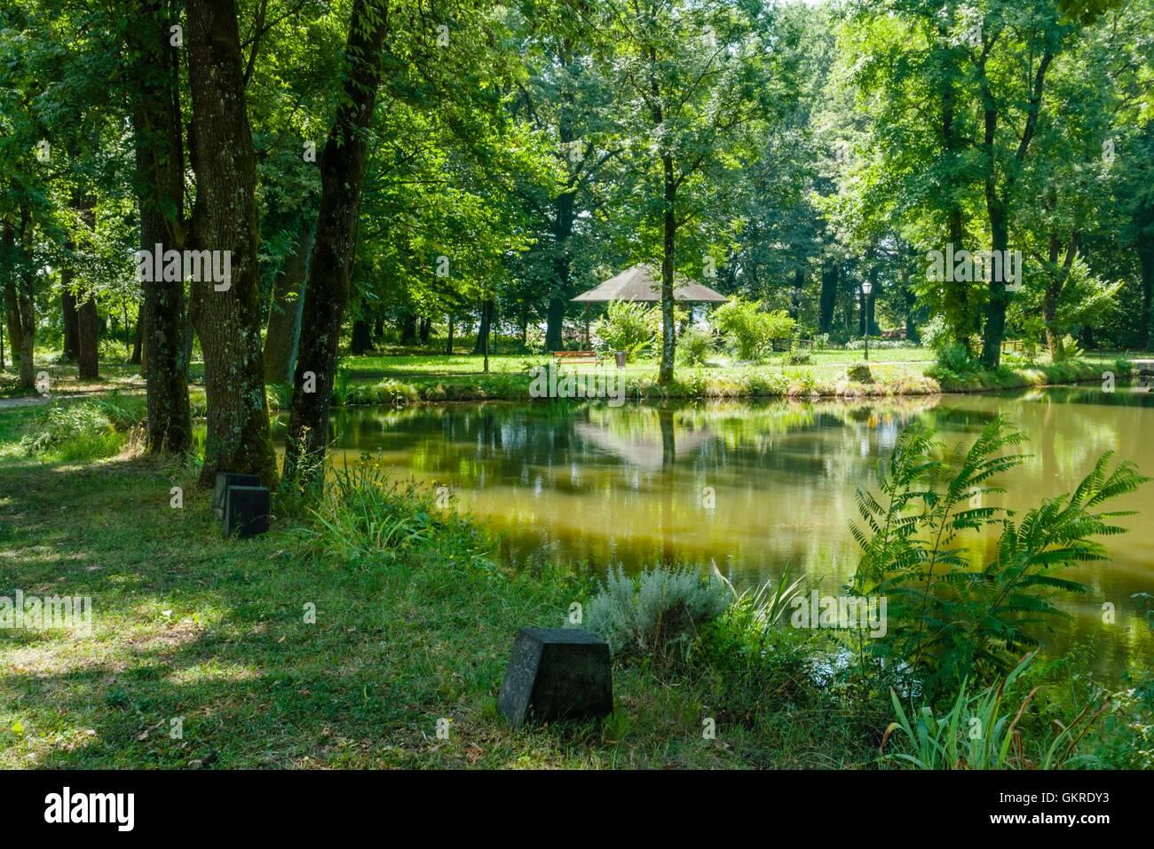 Luznica castle near Zapresic Zagreb in Croatia and park lake sunshine peaceful quiet calmness trees vegetation romantic Stock Photo