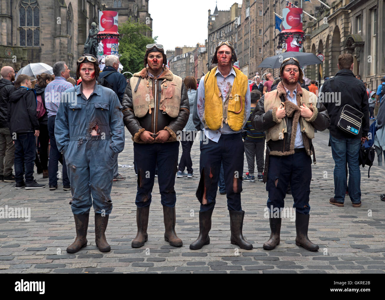 Cast members of 'Immortal' produced by GreanTea Productions promote their show on the High Street, Edinburgh. - Stock Image