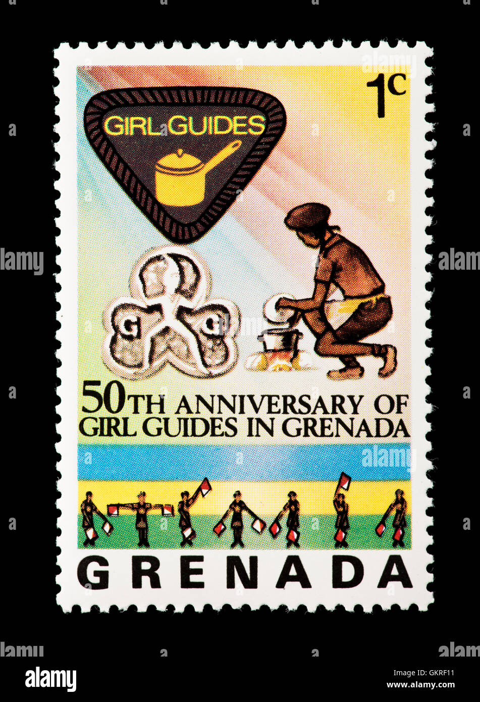 Postage Stamp From Grenada Depicting Girl Guides Issued For Its 50th Anniversary