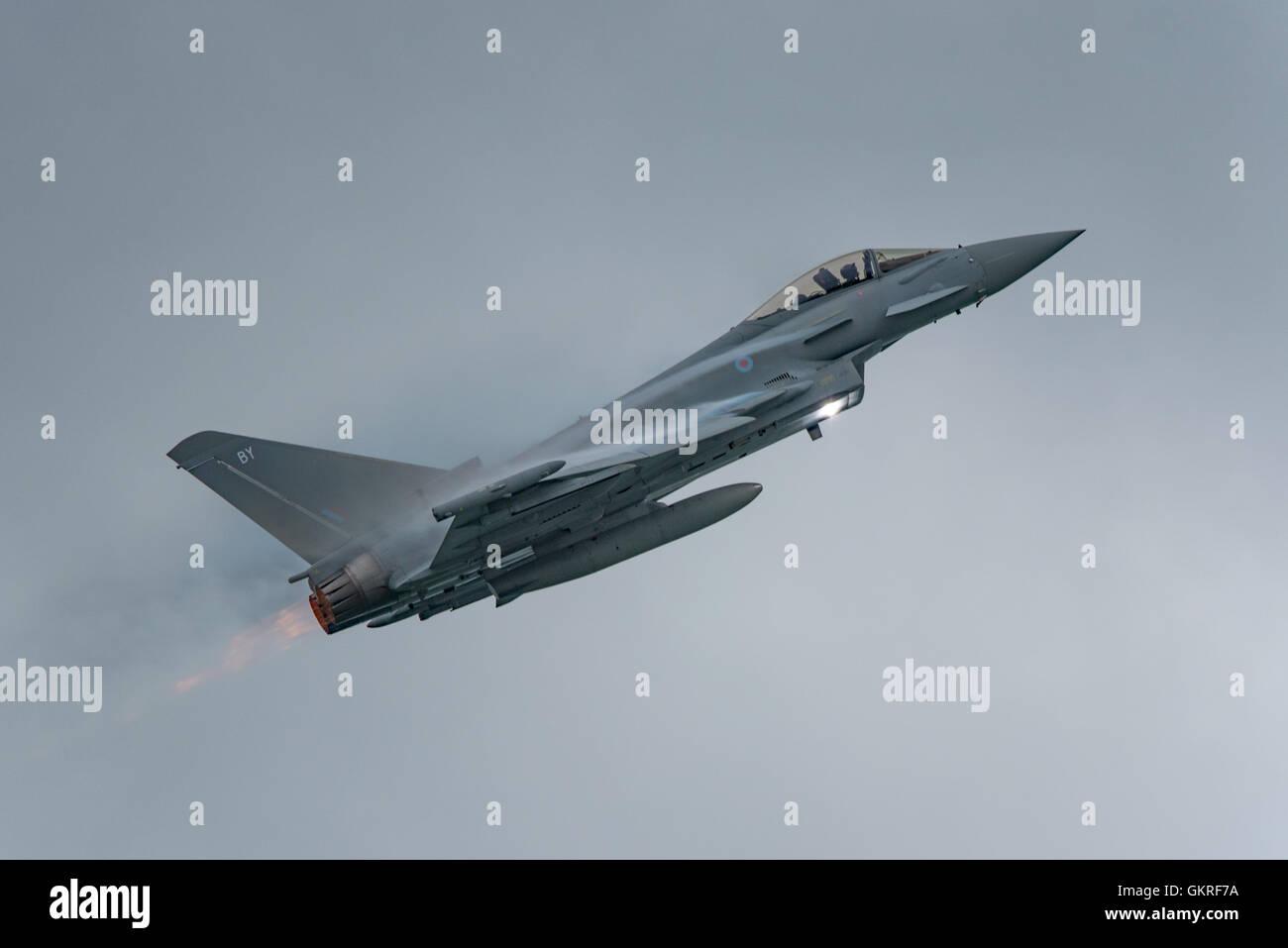 Cloud piercing RAF Typhoon FGR4. - Stock Image