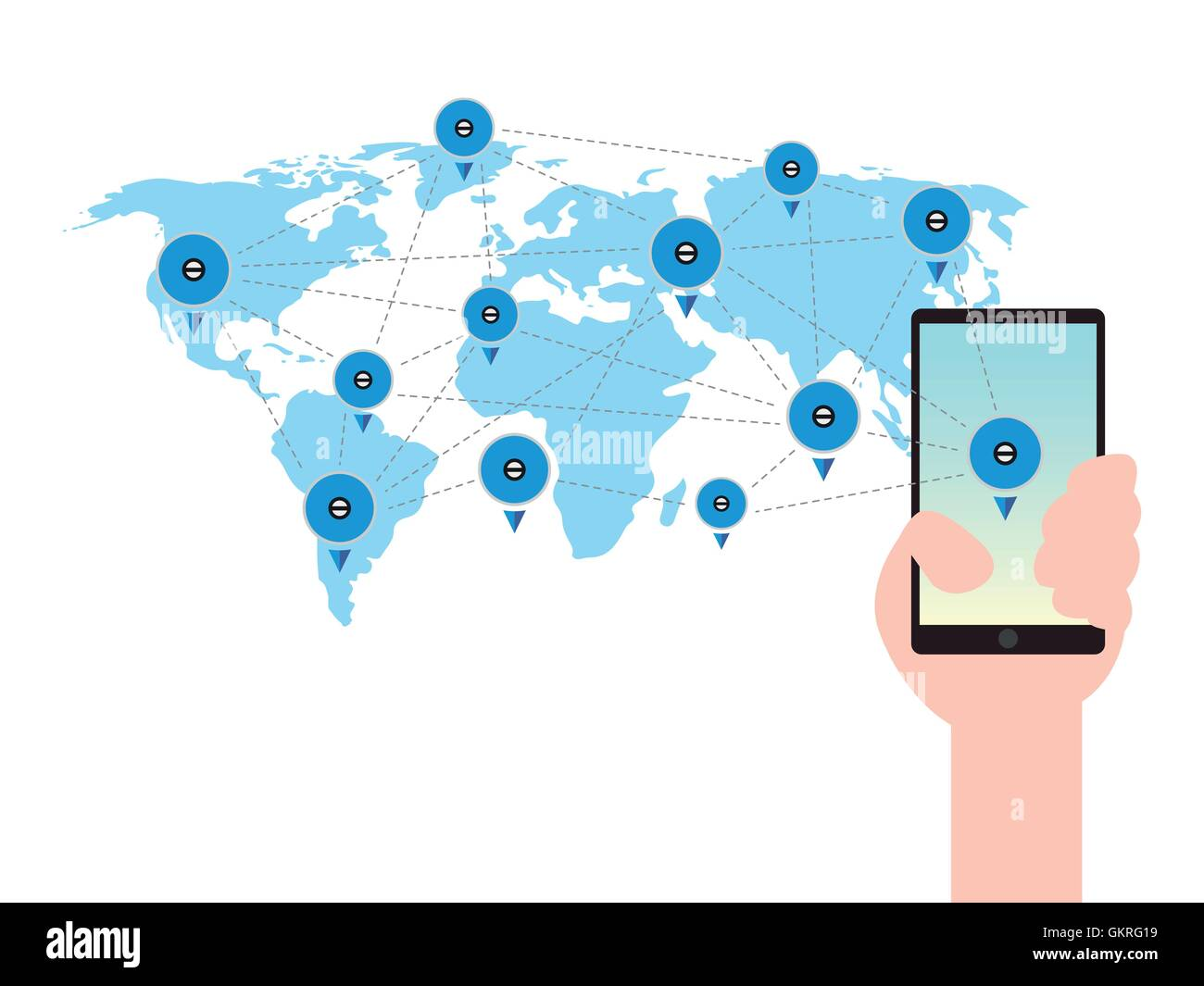 Mobile phone in a hand world map global business communication stock mobile phone in a hand world map global business communication technology concept gumiabroncs Images