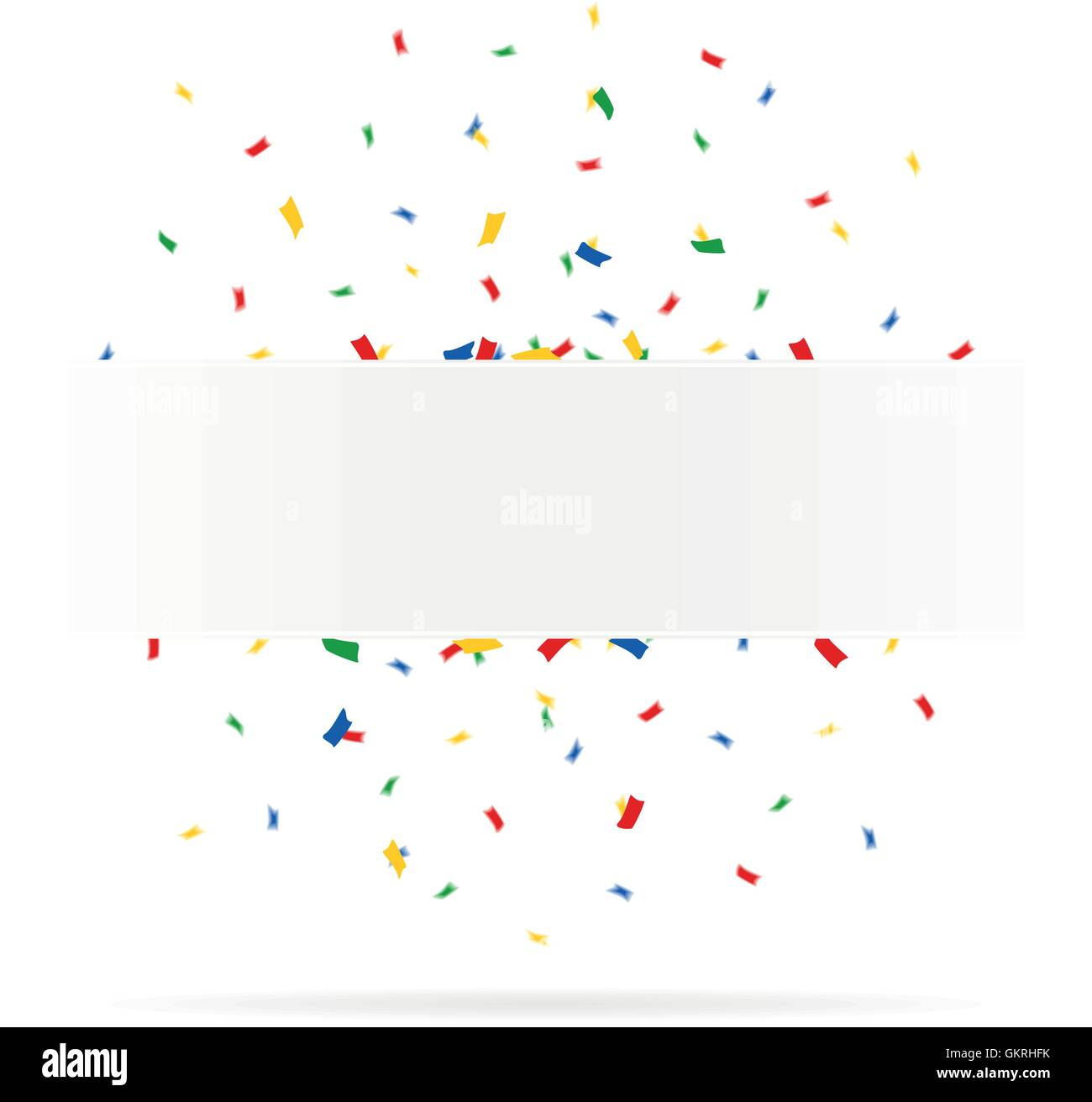 colorful confetti around a circle shield - Stock Vector