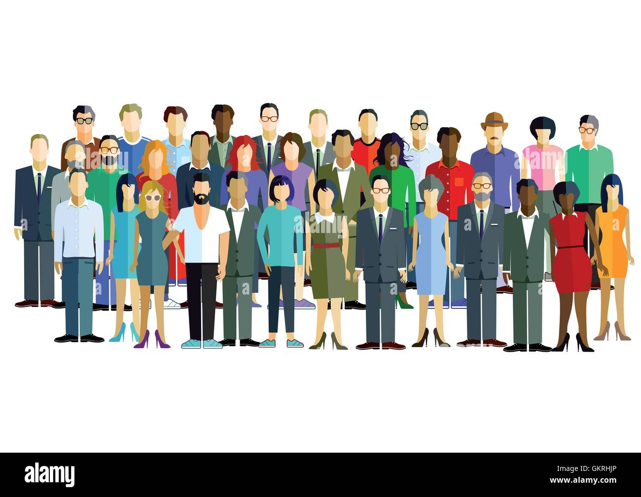large group of men and women. - Stock Vector