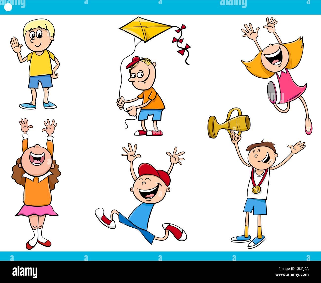 children characters cartoon set Stock Vector