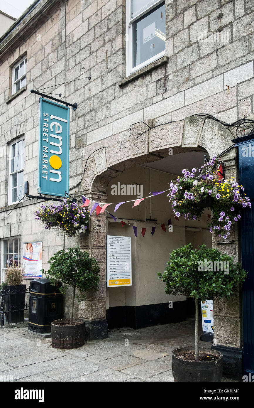 The arched entrance to Lemon Street Market in Truro. - Stock Image
