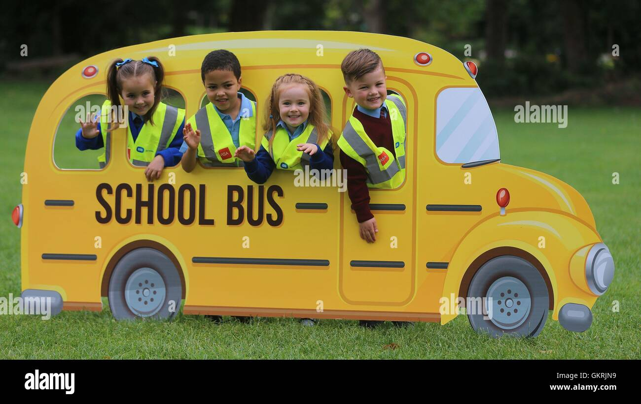 (left-right) Hollie Walker, Oisin Cully, Sophie Bracken and Rocco Hill take part in the launch of the Road Safety Stock Photo