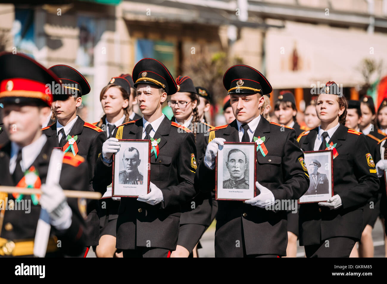 The Immortal Regiment Action March At Parade Procession Of Young People From Gomel State Cadet School With Portreits - Stock Image