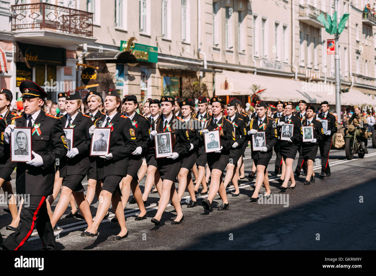Gala Formation In March Of Immortal Regiment Action, Parade Procession Of Young People From Gomel State Cadet School - Stock Image