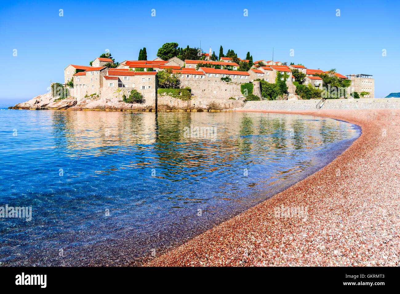 Sveti Stefan, Montenegro. View with fantastic small island and resort on the Adriatic Sea coast, Budva city region. - Stock Image