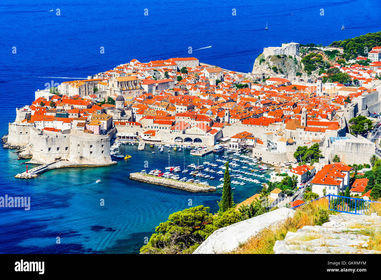 Dubrovnik, Croatia. Picturesque view on the old town (medieval Ragusa) and Dalmatian Coast of Adriatic Sea. - Stock Image