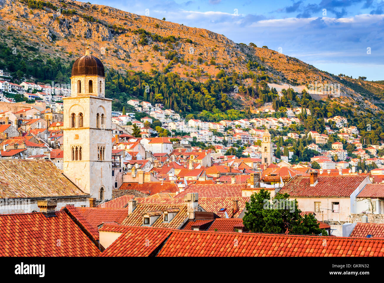 Dubrovnik, Croatia. Sunset golden light over Old Town roofs of Ragusa (Duvrovnik). - Stock Image